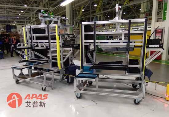 (图2:北京奔驰汽车装配线agv物料输送小车案例展示)
